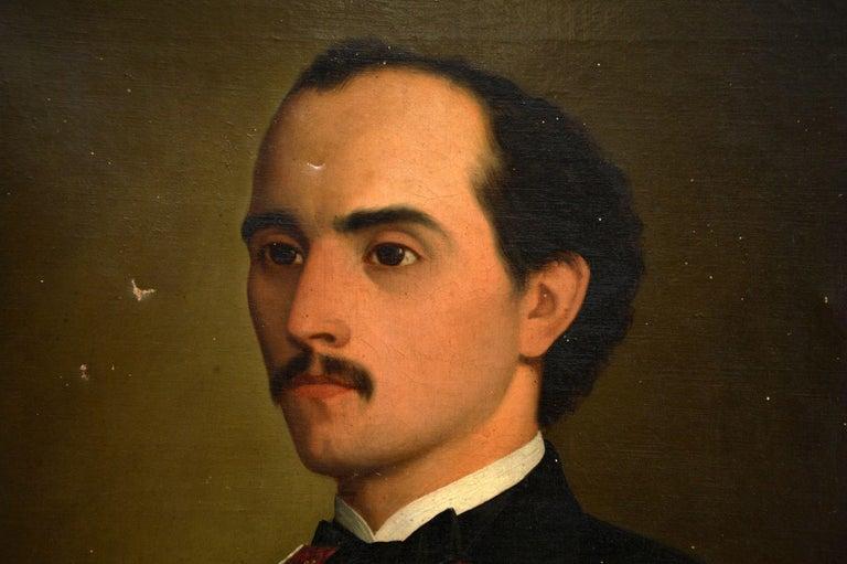 Pair of Antique Portrait Oil Paintings For Sale 2