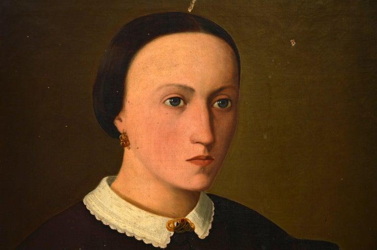 Pair of Antique Portrait Oil Paintings For Sale 3