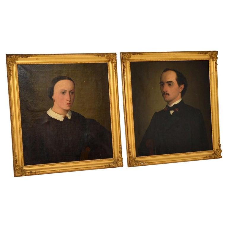 Pair of Antique Portrait Oil Paintings For Sale