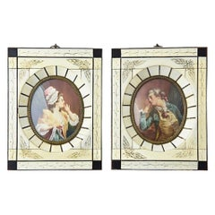 Pair of Antique Portraits of Lovers Noble Man and Woman in Bone Frames J. Smot