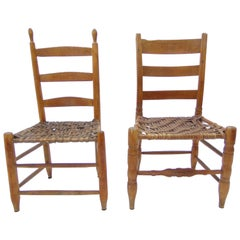 Pair of Antique Primitive Ladder Back and Splint Seats Early 19th Century