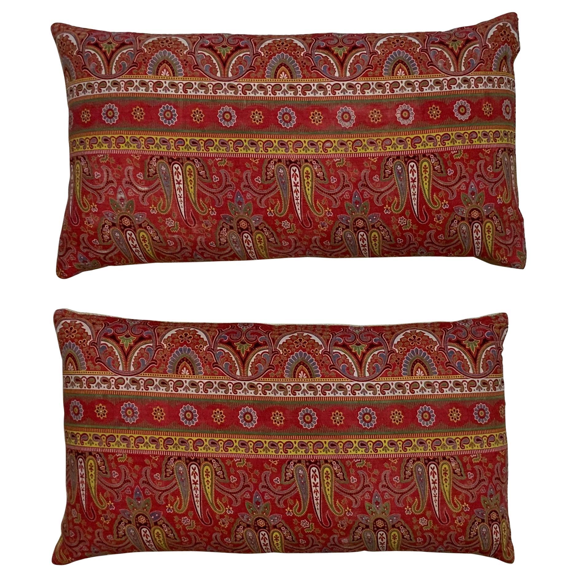 Pair of Antique Print Textile Pillow