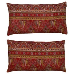 Pair of Antique Print Textile Pillow