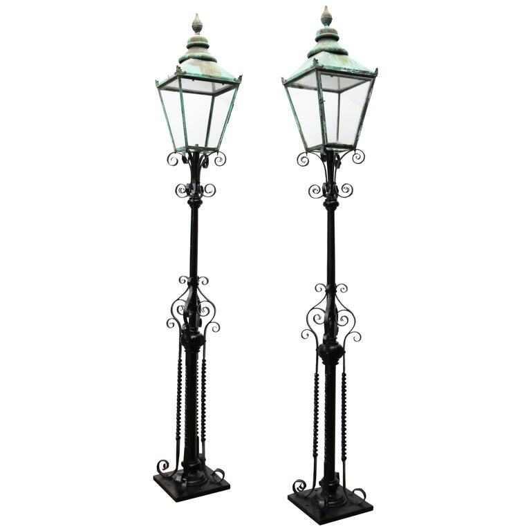 Pair of Antique Reclaimed Lamp Posts For Sale at 1stdibs
