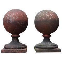 Pair of Antique Reclaimed Terracotta Ball Finials