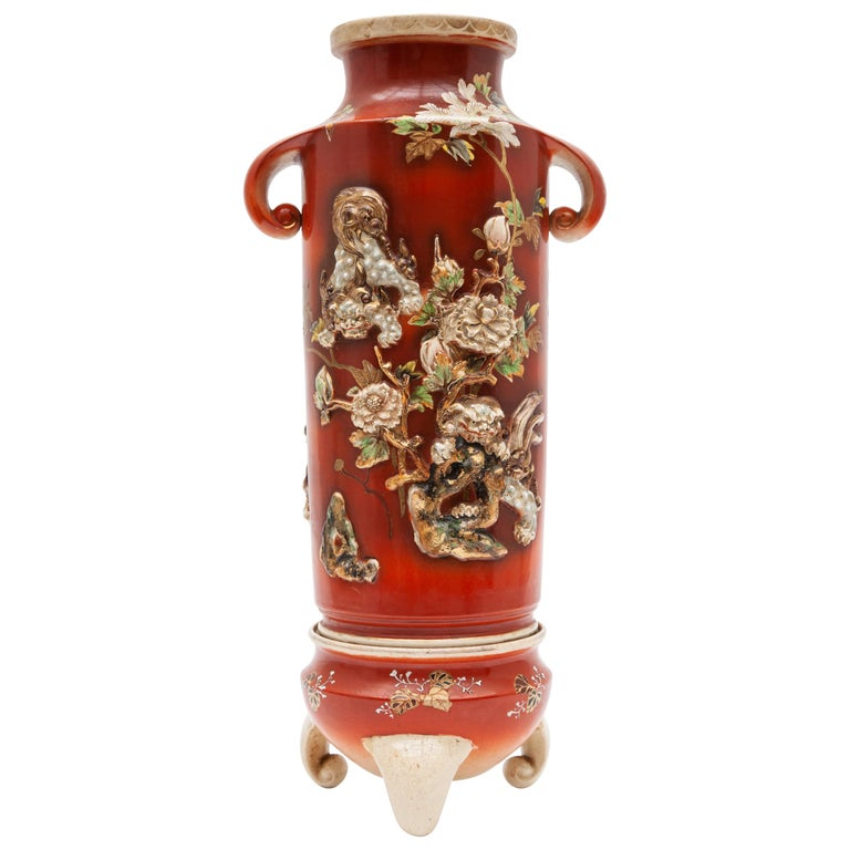 Pair of Antique Red 19th Century Satsuma Vases, Japan For Sale