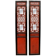 Pair of Antique Red and Black Chinese Screens