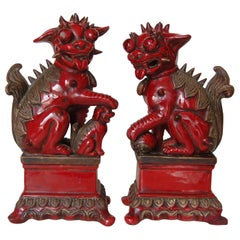 Pair of Antique Red Ceramic Chinese Flying Dragons Figures