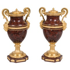 Pair of Antique Red Marble Ormolu-Mounted Louis XVI Style Vases