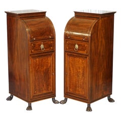 Pair of Antique Regency Flamed Mahogany & Gilt Bronze Drinks Cabinet Pedestals