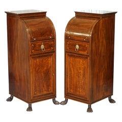 Pair of Antique Regency Flamed Hardwood & Gilt Bronze Drinks Cabinet Pedestals