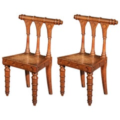 Pair of Antique Regency Gothic Hall Chairs, Early 19th Century