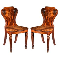 Pair of Antique Regency Hall Chairs Attributed to Gillows of Lancaster, c. 1815