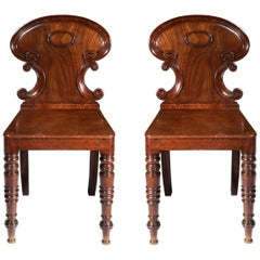 Pair of Antique Regency Hall Chairs, Manner of Gillows