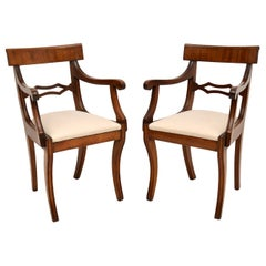 Pair of Antique Regency Period Mahogany Carver Armchairs