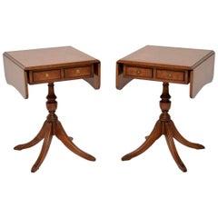 Pair of Antique Regency Style Walnut Side Tables