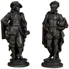Pair of Antique Renaissance Noblemen Statues