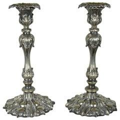 Pair of Antique Renaissance Revival Candlesticks, English Late 19th Century
