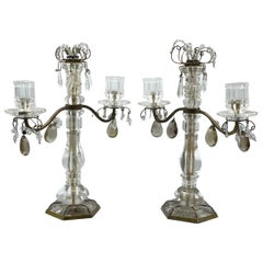 Pair of Antique Rock Crystal and Bronze Two-Light Candelabras