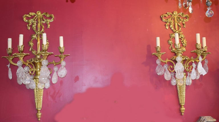 Pair of Antique Rock Crystal and Gilt Bronze Sconces In Excellent Condition For Sale In Atlanta, GA