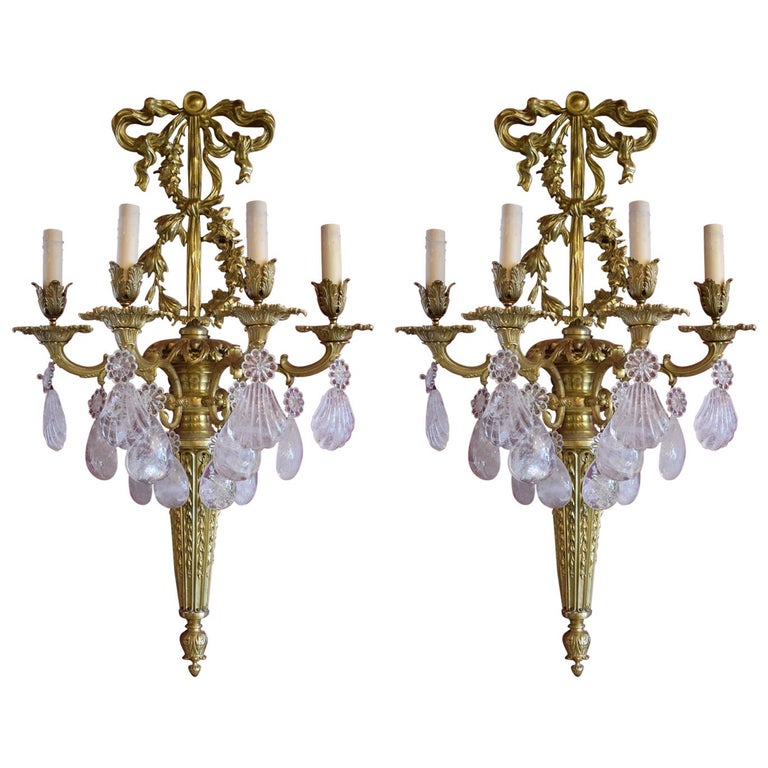 Pair of Antique Rock Crystal and Gilt Bronze Sconces For Sale