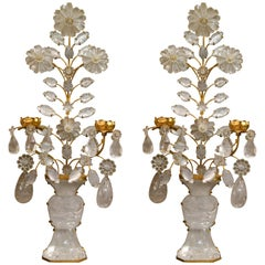 Pair of Antique Rock Crystal Sconces