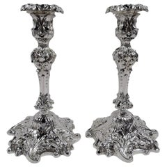 Pair of Antique Rococo Sterling Silver Candlesticks by Howard