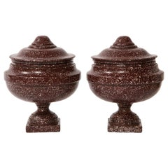 Pair of Antique Roman Porphyry, Grand Tour Period Hand-Carved Lidded Vases