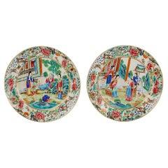 Pair of Antique Rose Mandarin Chinese Export Porcelain Plates