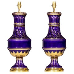 Pair of Antique Royal Blue and Gold Vase Lamps