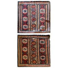 "Pair of Antique Rugs, Kilims Oriental Caucasian Wool ""Khorjin"" Rug"