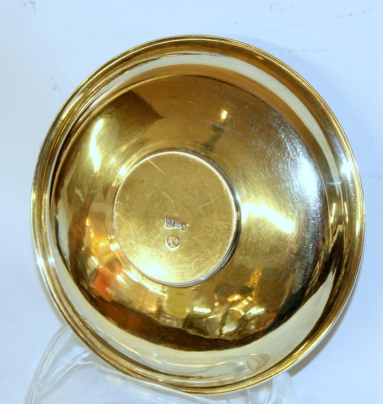 Pair of Antique Russian Silver Vermeil Hand Engraved Toasting Cups and Saucers For Sale 9