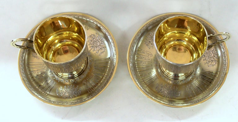 Pair of Antique Russian Silver Vermeil Hand Engraved Toasting Cups and Saucers For Sale 15