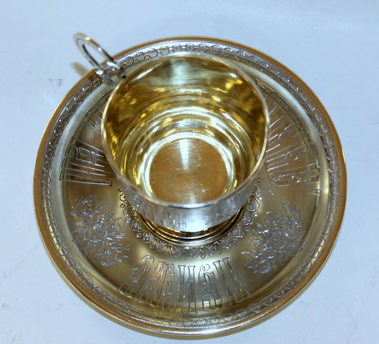 Frosted Pair of Antique Russian Silver Vermeil Hand Engraved Toasting Cups and Saucers For Sale