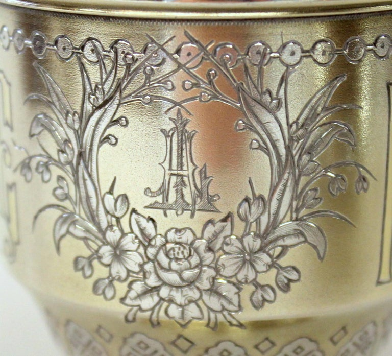 Pair of Antique Russian Silver Vermeil Hand Engraved Toasting Cups and Saucers For Sale 3