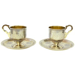 Pair of Antique Russian Silver Vermeil Hand Engraved Toasting Cups and Saucers