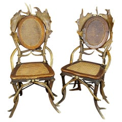 Pair of Antique Rustic Antler Parlor Chairs, Germany, circa 1900