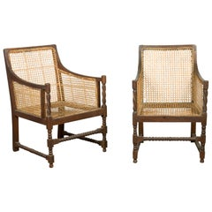 Pair of Antique Rustic Thai Turned Wood Armchairs with Rattan Backs and Seats