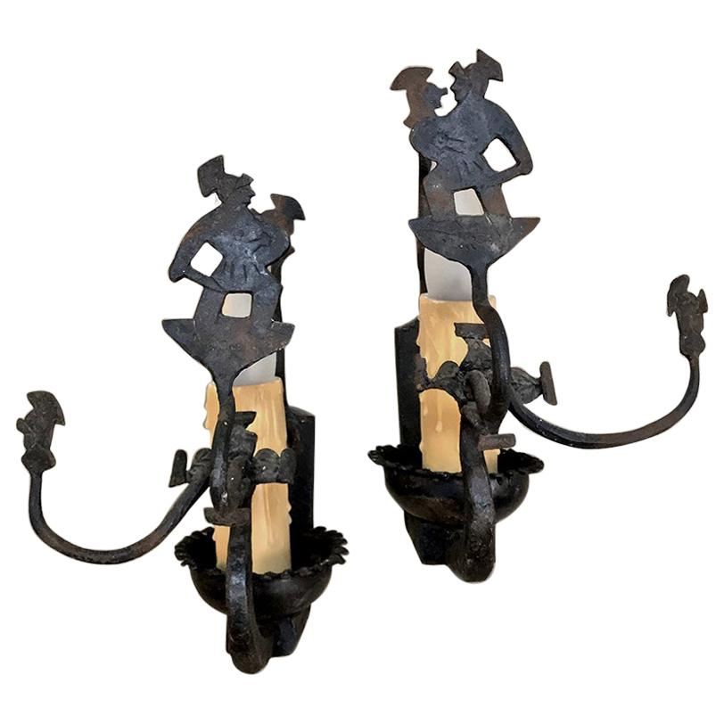Pair of Antique Rustic Wrought Iron Wall Sconces