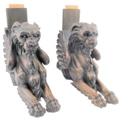 Pair of Antique Salvaged Architectural Carved Wooden Lion Sculptures or Brackets