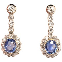 Pair of Antique Sapphire and Diamond Earrings