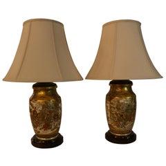 Pair of Antique Satsuma Japanese Lamps with Mahogany Base