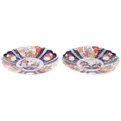 Pair of Antique Scalloped Edge Japanese Imari Porcelain Dishes