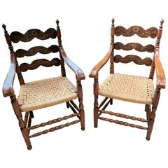 Pair of Antique Scandinavian Walnut Armchairs