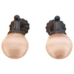 Pair of Antique Sconces with Zipper Glass Ball Shades, circa 1910