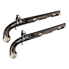 Pair of Antique Scottish Dueling Pistols with 22-Karat Gold Mounts & Provenance