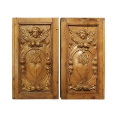 Pair of Antique Sculpted Oak and Linden Wood Panels from France, 18th Century
