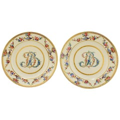 Pair of Antique Sèvres Type Madame du Barry Porcelain Cabinet Plates