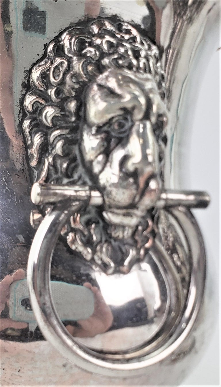 Pair of Antique Sheffield Plated Wine Coolers with Lion Handles & Rope Accents For Sale 4