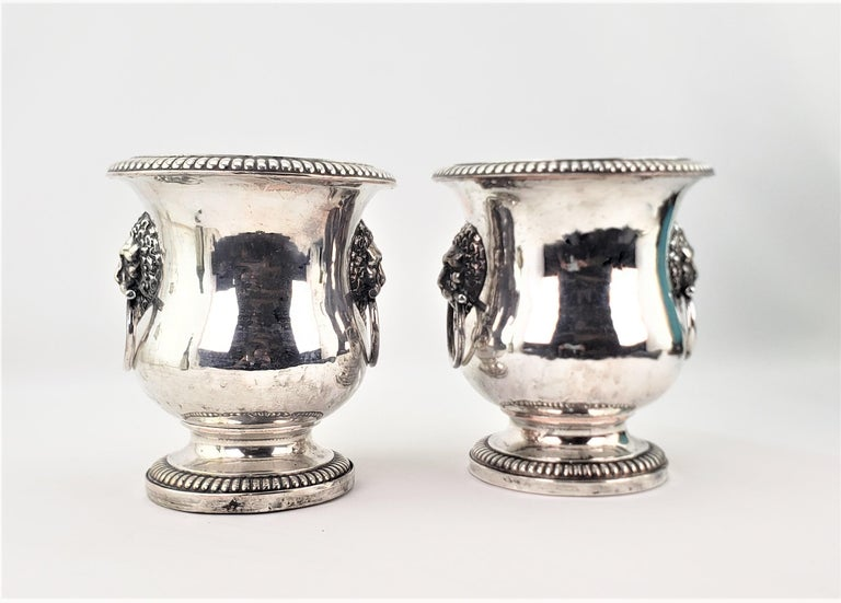 Georgian Pair of Antique Sheffield Plated Wine Coolers with Lion Handles & Rope Accents For Sale